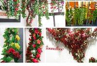 ingrosso decorazione di falsi vitigni-7 colori Simulazione rosa rattan appeso fiore artificiale rattan soggiorno ortensia falso decorazione della casa fiore soffitto vite fiore