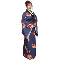 ingrosso kimono giapponese-2018 donne di estate costume tradizionale giapponese fiore femminile vestito kimono giapponese per la fase cosplay signora yukata costume kimono