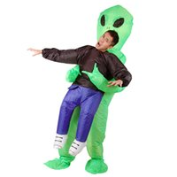 trajes extraterrestres adultos venda por atacado-Unisex one size fit todo o projeto adulto inflável traje estrangeiro terno halloween cosplay verde E. T alien traje inflável