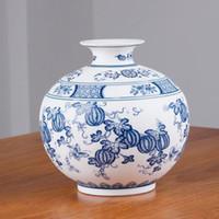 jingdezhen porcelana azul branco venda por atacado-Estilo chinês Jingdezhen Clássico Azul E Branco Porcelana Caulim Vaso De Flor Home Decor Handmade Vasos