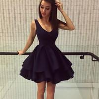 robes de soirée bleu royal france achat en gros de-Bleu marine Une ligne mini robes de cocktail courtes Sexy col V Robes de soirée de soirée formelle pour les adolescents Uk Vintage robes de soirée