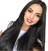 insan saçı örgü renk siyah toptan satış-Siyah Kadınlar Için brezilyalı Tam Dantel İnsan Saç Peruk Öncesi Koparıp 130% Düz Örgü 10-26