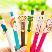 Wholesale stationery supplies for school children for sale - Group buy Creative Cartoon Plastic Ballpoint Pen Cute Little Animal Rainbow Ballpoint Pens School Office Supplies Stationery For Children Gift Pen