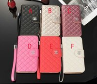 Wholesale plastic business card cases - Case for iPhoneX 8 8plus luxury brand business rhombus leather phone holster for iPhone7 6 6S 7plus flip holster with card pocket