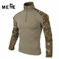 trajes de caza de camuflaje al por mayor-MEGE multicam ejército camisa de combate uniforme camisa táctica con coderas camuflaje caza ropa ghillie traje superior