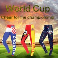 Wholesale high waist printed yoga pants online - World Cup Sports Leggings Russia FIFA Women Running Pants Yoga Fitness High Waist Tights Girls Printed Leggings Designer Player Jersey