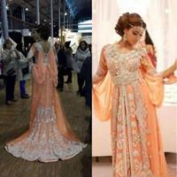 Wholesale red flowing evening dress online - Fashion Kaftan Abaya Arabic Women Evening Dresses Long Chiffon Muslim Flowing Arabia Formal Party Prom Maxi Gowns Custom Made Appliques Gown