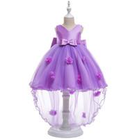 kırmızı tığ işi elbise toptan satış-Kızlar elbise tığ pamuklu elbise elbisesi V Yaka düğün kırmızı çiçekler firar prenses elbise etek