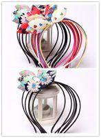 Wholesale Leather Flower Headband - High Quality New Fashion Handmade Boutique Rainbow Chiffon Flower Hairband with Teeth for Girls Kids Hair Accessories