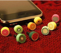 Wholesale Cap Jack Iphone - New promotional headphone plug phone fruit dust plug 3.5mm fruit dust cap plug for iPhone