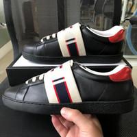 envio da gota das artes marciais venda por atacado-Novo homem luxo mulheres ace sneaker com listras elasticidade marrom de alta qualidade sapatos de grife de luxo com tamanho de caixa original 34-46
