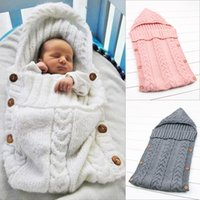 Wholesale infant envelope resale online - Maternity Newborn baby blanket Twist Knit Sleeping bags Hooded Solid color Ins Infants Wrap bag free size M