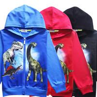 oğlan dinozor hoodie toptan satış-Gençler Boys Hoodies Sonbahar Fermuar Erkek Tişörtü Jurassic Dünya Dinozor Uzun kollu T-Shirt Tops Outwears Çocuk Hoodies MMA903