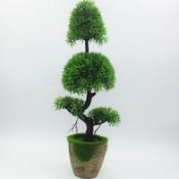 Wholesale artificial flowers bonsai resale online - 2017 Promotion New Artificial Pine Bonsai Tree For Sale Floral Decor Simulation Flores Artificiais Desktop Display Fake Plants
