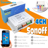 Wholesale Home Solutions - Sonoff 4CH 4 Channels Smart Remote Controller Wireless Switch Module Update Smart Home Solution Timer Switch Via Smartphone By APP eWelink