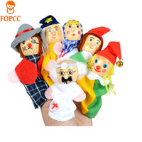 Wholesale baby comfort - New 6PCS Play House Toy Finger Puppet Children's Educational Toys 8 CM Hand Puppet Plush Parent Child Story Baby Comfort Toys