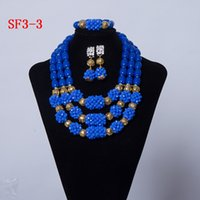 royal blue african jewelry set Australia - Royal Blue Handmade African Beads Necklace Set Women Costume Jewelry Set Wedding Jewelry Set For Brides Free Shipping SF3-3