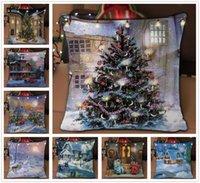 patrones de cojín de navidad gratis al por mayor-Moda Hermosa Vista Nocturna de Navidad Patrón Funda de Almohada Funda de Cojín Home Bed Lovely Decoration Envío Gratis