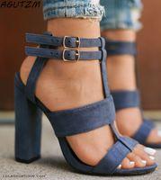 high heel marine sandalen großhandel-Sommer Damen Sandalen Platz Heel 10cm Navy weibliche High Heels Damenschuhe Frau Sandalen Knöchelriemen Heels