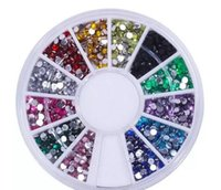 Wholesale nail deco - In Stock!!! Nail Art Glitter Tip 2mm Rhinestone Deco With Wheel 1200 Pcs set Free Shipping 1000set lot