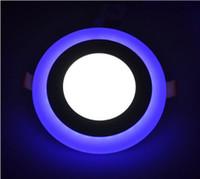 panel led de doble color al por mayor-Panel de doble color LED WhiteBlue 6W 9W 16W 24W Techo empotrado Downlight Cuadrado redondo para la sala de estar Dormitorio Lavabo Baño Kitche