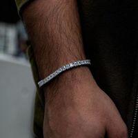 pulseira de faísca venda por atacado-Gelado fora spingking bling mens jóias presente de noivado de casamento cz diamoond cadeia de tênis quadrado menino homens pulseira pulseira