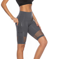 sexy workouts kleidung großhandel-2018 Sexy Mesh Yoga Shorts Mit Handytasche Frauen Push-Up Sport Leggings Hohe Taille Running Tight Sport Workout Gym Kleidung
