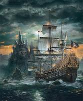 ingrosso diamante pirata-Temporale Pirate Boat Diamante Pittura Magia Quadrato Trapano Dipinti Su Tela Ricamo Fai Da Te Home Decor New Fashion Artigianato Fatti A Mano 20lf2 gg