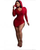 Wholesale night club mini clothes online - Hooded Tight Dresses Deep V Long Sleeve Casual Dresses for Women Clothing Solid Red Black Sexy Night Club Lady Dresses
