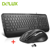Wholesale pc keyboard types - Delux KA160 Wired Keyboard M620G Wireless mouse Office Typing Keyboard With multimedia function Mice Use For game PC Office