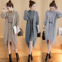Wholesale thick long sleeve sweater dress - Autumn   Winter Women Sweater Dress Suit Fashion Vintage Warm Long Sleeve Loose Two-piece Knitting Cardigan Vest Sweaters