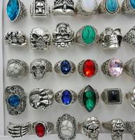 кольцо из черепа оптовых-Мода женщины преувеличение большой драгоценный камень смолы Античное серебро мультфильм череп кольцо бирюзовый драгоценный камень кольцо смешанные многие стили