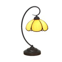 Wholesale Vintage Stained Glass Table Lamp - Vintage Tiffany Table Lamp Umbrella Shape Yellow Stained Glass Lampshade Desk Light European Bedside Reading Nightlight TL146