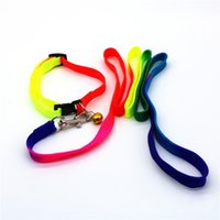 Wholesale wholesale rainbow dog collars - Rainbow Color Dog Collar Adjustable Nylon Pet Leash With Silver Metal Buckle Bells Puppy Collars Fashion 2 9cm B
