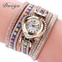 Wholesale Ladies Vintage Gold Watches - Women Bracelet Watch Duoya Brand Fashion Dress Clock Flower Watch Ladies Wrist Luxury Gold Heart Rhinestone Vintage