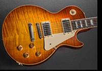 ligação da guitarra do bordo venda por atacado-Standard Mark Knopfler 1958 Âmbar Brown Flame Maple Top Guitarra Elétrica, Original G Corpo Vinculação, Little Pin ABR-1 Ponte, Tuilp Afinadores