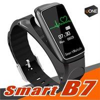 женщины смотрят музыку оптовых-B7 смарт-браслет Bluetooth Спорт смарт-часы интеллектуальная съемная музыка монитор сердечного ритма шагомер для Android Ios мужчина женщина
