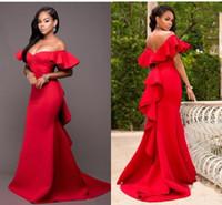 ingrosso abito rosso in raso abito da damigella d'onore-2019 Gorgeous Red Mermaid Bridesmaids Abiti al largo della spalla Backless Maid of Honor Piano Lunghezza Satin Wedding Party Dress Plus Size economici
