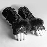 Wholesale raving rabbits - PUNK RAVE Gothic Velvet Fingerless Gloves Ladies Party Black Lace Rabbit Fur Arm Warmer Without Fingers Female Gloves 1 Pair