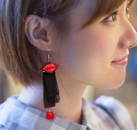 ingrosso merletto nero di modo coreano-Hot Style coreano lungo pizzo nero nastro pizzo labbra orecchini ragazze pop moda accessori moda classica eleganza delicata