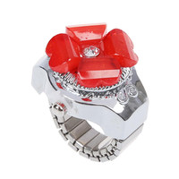 relojes de dedo rojo al por mayor-Reloj para el anillo de dedo con banda elástica en tono plateado de Red Clover Hunter para dama