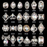 çivi sanatı 3d mücevher toptan satış-2018 yeni varış renkli AB tırnak taklidi tırnak mücevher 3501-3524 için 100 adet rhinestone alaşım sanat süslemeleri 3d takı