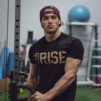 spor salonu gömlek erkek toptan satış-Erkek Marka Spor Salonları T Gömlek Spor Vücut Geliştirme Crossfit Slim Fit Pamuk Gömlek Kısa Kollu Egzersiz Erkekler Moda Tees Tops Giyim