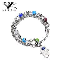 hamsa verstellbares armband großhandel-YUKAM Silber Edelstahl Doppelschicht Hamsa Türkische Lucky Evil Eye Armband Einstellbar Fatima Hand Perlen Armbänder für Frauen