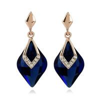 jade azul marino al por mayor-Estilo europeo Royalty Waster Drop Navy Blue Crystal Stud Pendientes para las mujeres joyería de moda elegante