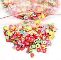 unha frutas fimo venda por atacado-Hot 1000 Pcs Frutas Animais Flores 3D Prego Adesivos Mulheres Meninas Colorido Dos Desenhos Animados Decorações de Unhas Fimo Clay Series