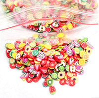Wholesale nail stickers girls - Hot 1000Pcs Fruits Animals Flowers 3D Nail Stickers Women Girls Colorful Cartoon Nail Decorations Fimo Clay Series