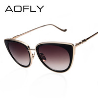 солнцезащитные очки оптовых-Wholesale-AOFLY Metal Frame Cat Eye Women Sunglasses Female Sunglasses  Designer Alloy Legs Glasses oculos de sol feminino