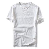 camisas sueltas de algodón para hombres. al por mayor-Summer Brand Shirt Men Short Sleeve Loose Thin Cotton Linen Shirt Hombre Moda Color sólido Tendencia V -Neck Tees Alta calidad