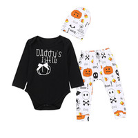 Wholesale cotton pants for girls resale online - Daddy s Mommy s little Pumpkin Halloween Funny Letters Outfits for infants Boys Girls Black Bodysuit With Pant Hat set Autumn